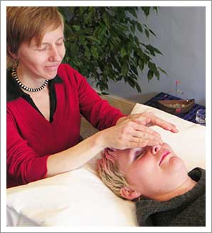 Receiving a Reiki treatment